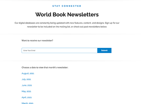 newsletter sign up and download
