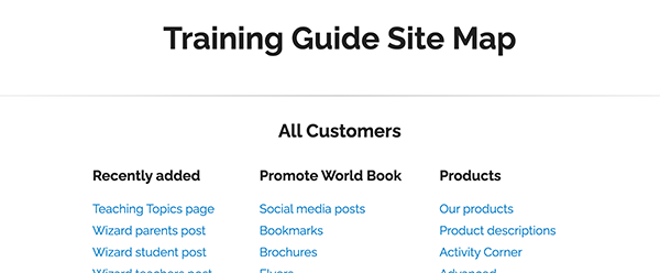 site map all customers