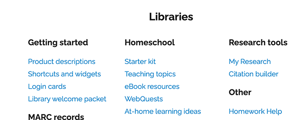site map libraries
