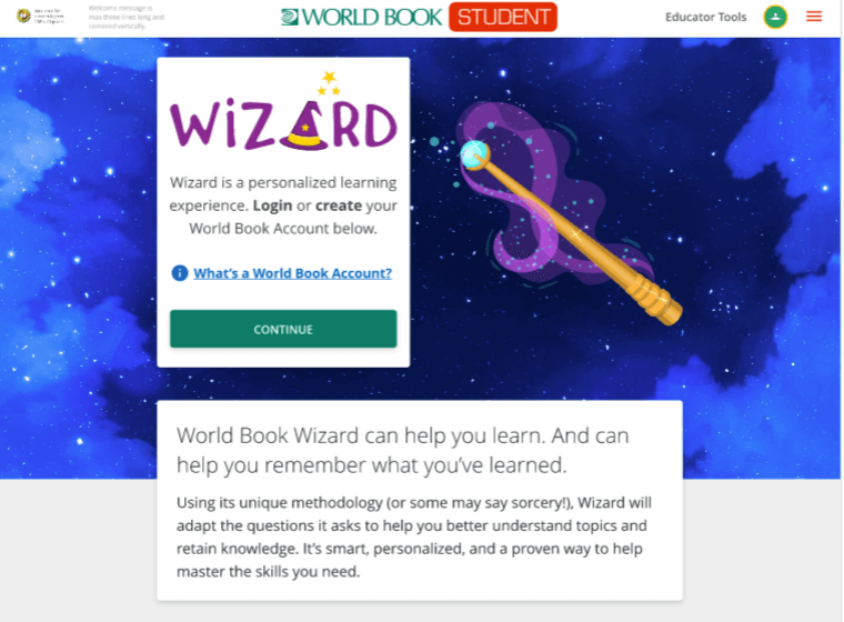 wizard homepage